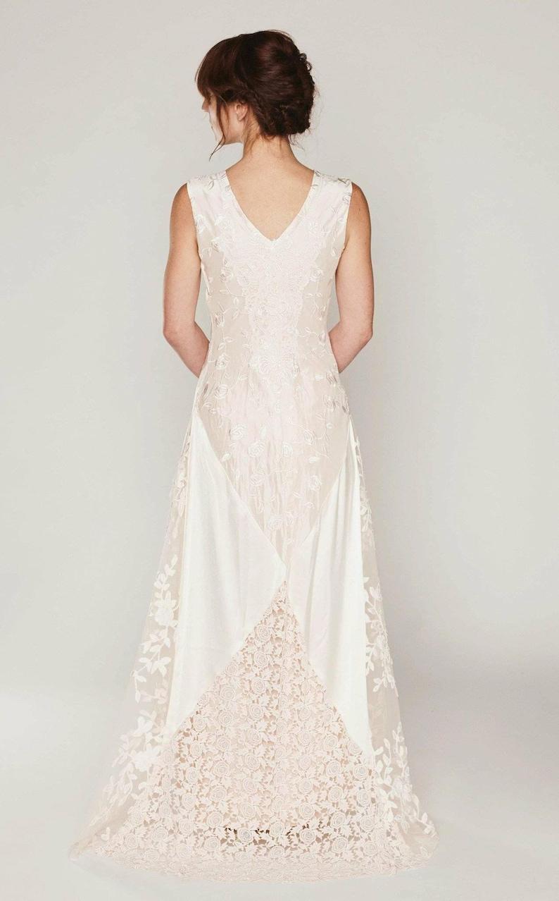 361b52f6130 Silk Boho wedding dress bias cut bridal gown lace collage