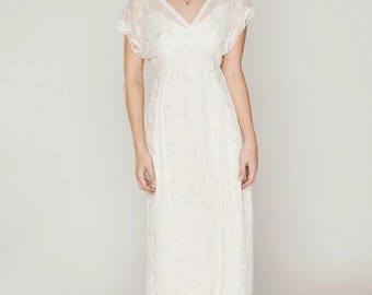 Beaded & embroidered silk chiffon Boho-style bridal gown, Hippie-style wedding dress, casual, simple wedding gown