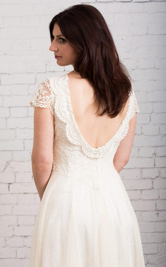 Open Back Wedding Dress Garden Wedding Dress Backyard Etsy