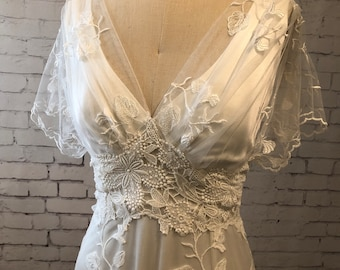 Lace Wedding Gown Wedding Dress with sleeves, buttons up back and train. vintage style, boho classic and simple. Helene gown.