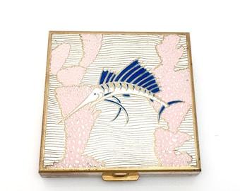 Vintage Volupté Powder Compact - Art Deco Make-up Case - 50s Powder Compact - Enamel Cloisonné Swordfish Compact - Vintage Makeup