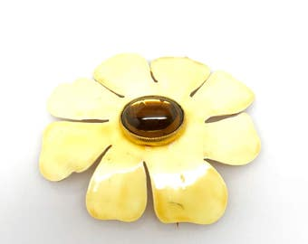 Vtg Citrine Floral Enamel Done by SANDOR Brooch the Perfect Beauty to Wear during the Upcoming Seasons!