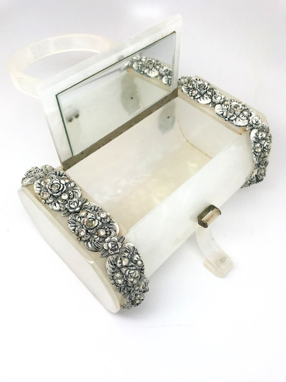 White Lucite Bag Purse Rare - Wilardy Lucite Whit… - image 6