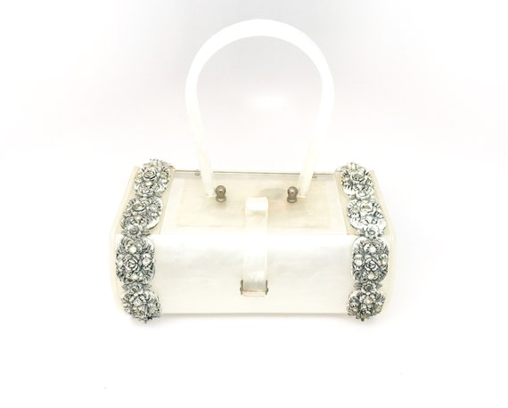 White Lucite Bag Purse Rare - Wilardy Lucite White