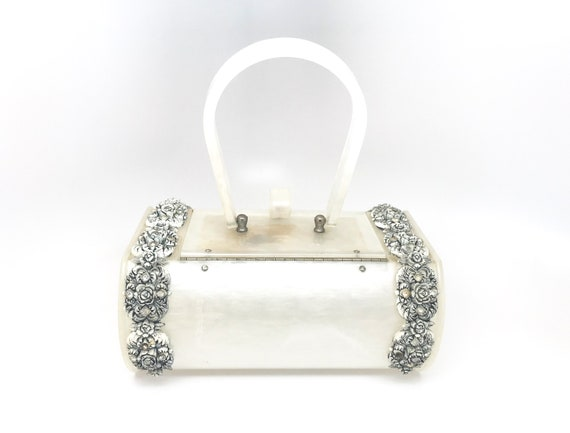 White Lucite Bag Purse Rare - Wilardy Lucite Whit… - image 5