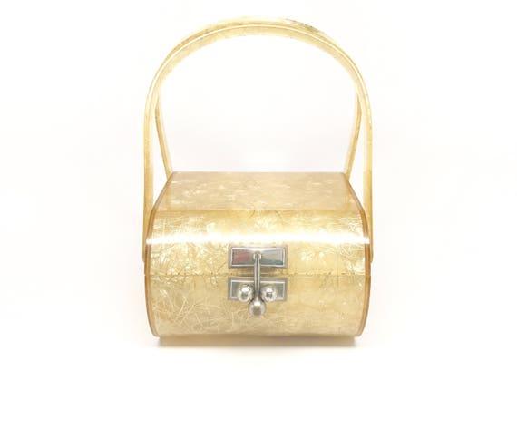 Gold Lucite Purse Myles Rare - Bridal Gold Threads