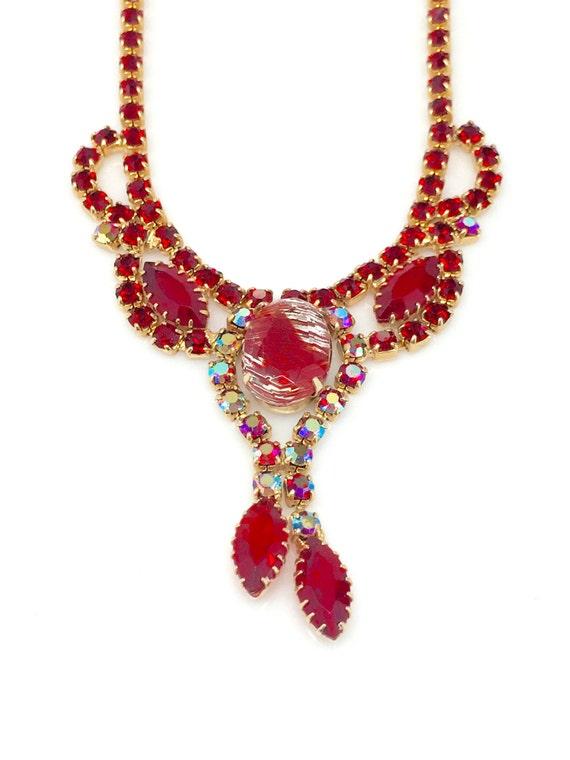 Vintage Juliana Red Art Glass Necklace - Juliana S