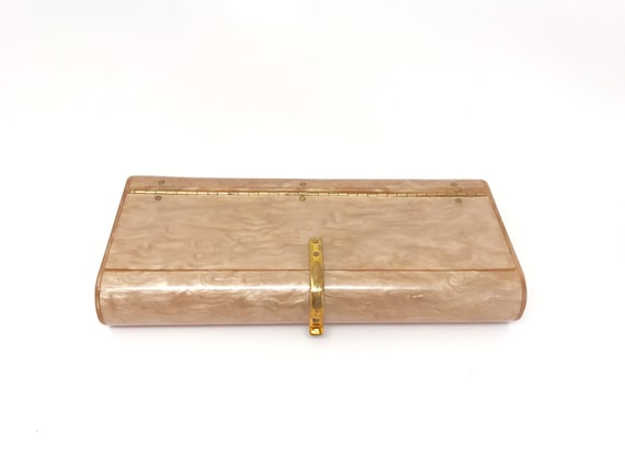 Gold Lucite Clutch Bag Purse - Wilardy Gold Marble