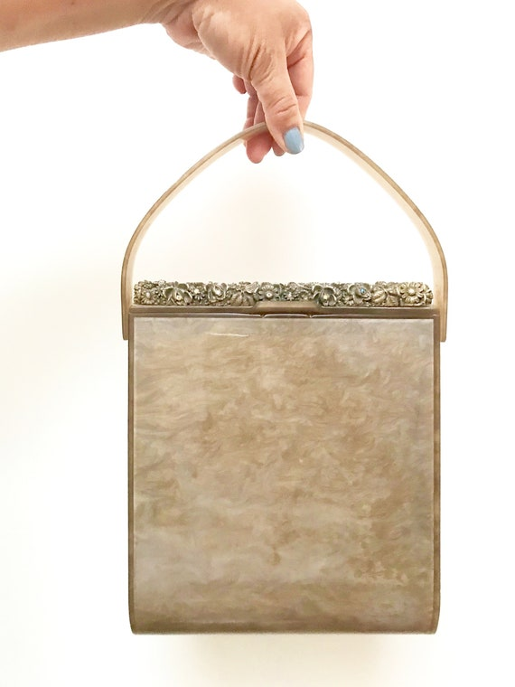 Lucite Bag Purse Large - Rare Taupe Brown Wilardy