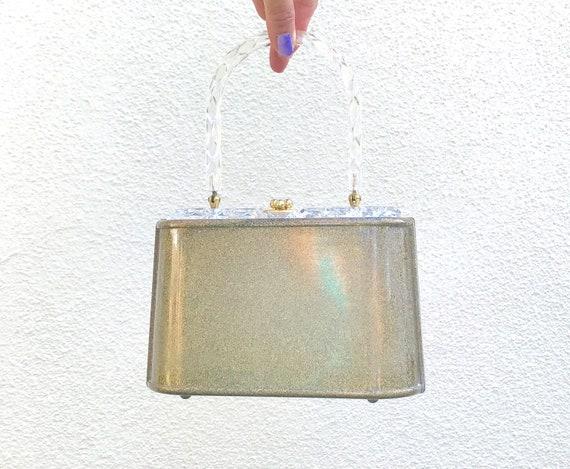 Lucite Purse Bag Gold Flecks - Bridal Gold Lucite