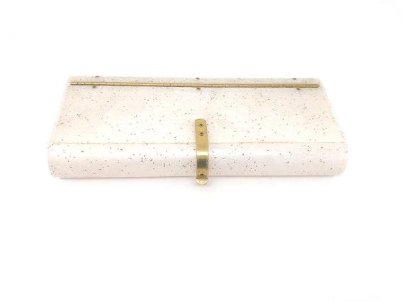 Lucite Bag Purse Gold Confetti - Wilardy Cream Luc