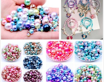 7022-22 Mixed Mermaid Ombre Pearls Beads without hole,Faux Pearls Beads,Imitation Pearl Beads,nail art beads,mixed plastic Beads