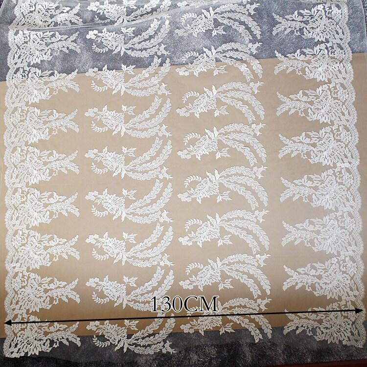 tissu de dentelle de mariage 3D 1 Ivoire, mètre, tissu de dentelle Ivoire, 1 broderie fleur de dentelle, dentelle florale voile de mariée, pour le BRICOLAGE, robe, largeur 130 cm(45D109) a3ea84