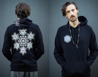 Sacred Geometry Hoodie Black Sweatshirt Festival Clothing Metatrons Cube Flower of Life Fractal Jumper PsyTrance Rave Platonic Solids