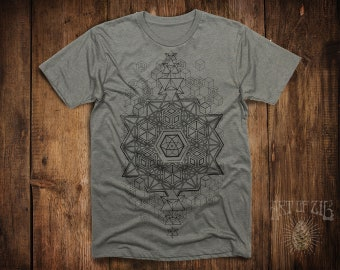 MENS Steel T-Shirt // Sacred Geometry // Festival Clothing // 64 Tetrahedron // Psy Clothing // Merkaba / Geometric / Fractal Clothing /