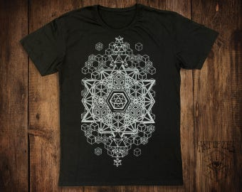MENS Black T-Shirt // Sacred Geometry // Festival Clothing // 64 Tetrahedron // Psy Clothing // Merkaba // Geometric // Fractal Clothing //