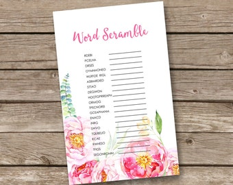 bridal shower game word scramble game printable games instant download wedding shower games - br57