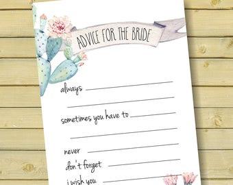advice for the bride game, wedding advice, bridal advice cards, diy bridal shower game, succulents, wedding printable games, cactus - br70