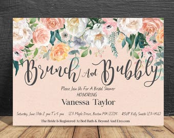 brunch and bubbly, watercolor bridal shower invite, floral bridal shower invitation, brunch and bubbly invite - br64