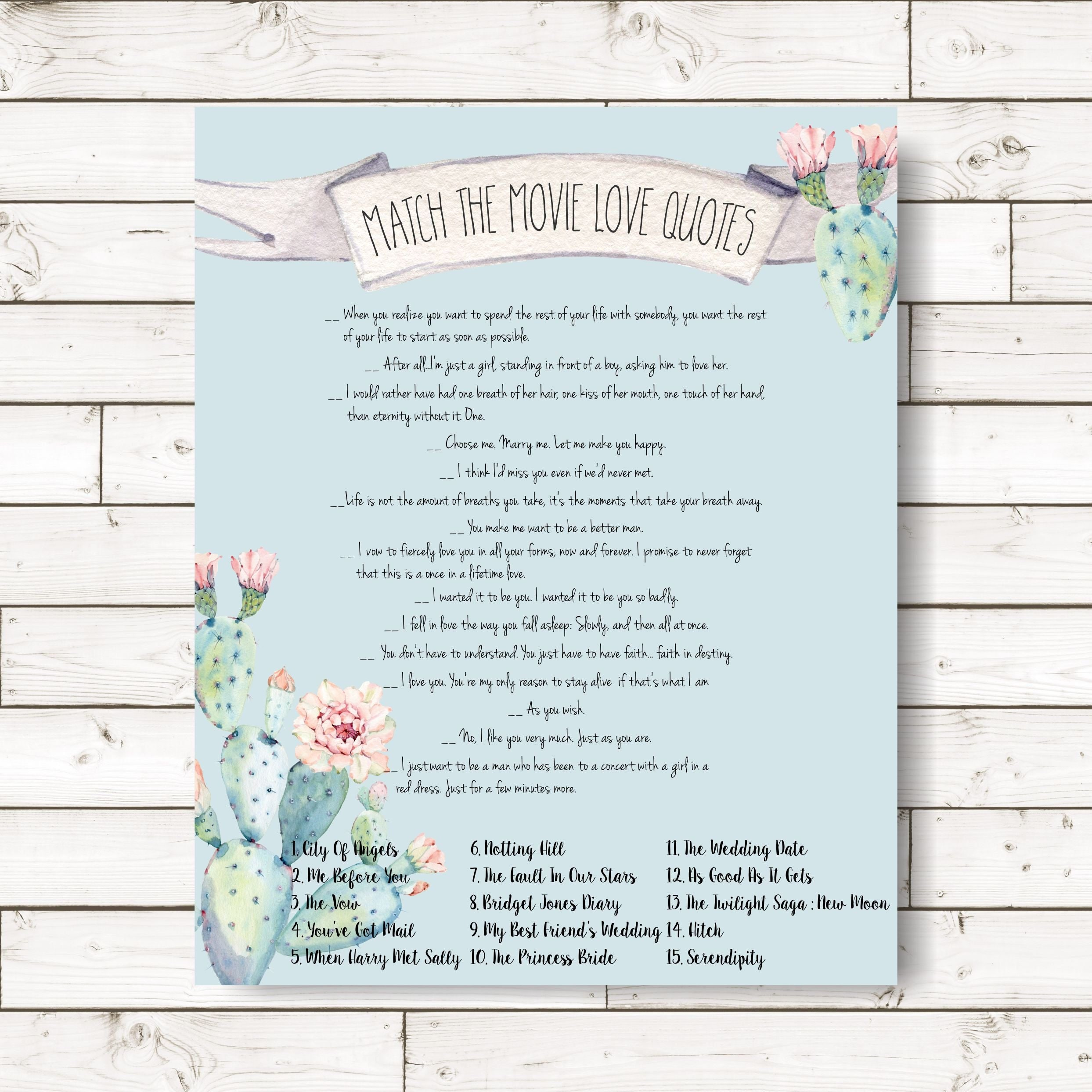 Match Movie Quotes Bridal Shower Games Cactus Hen Party Etsy