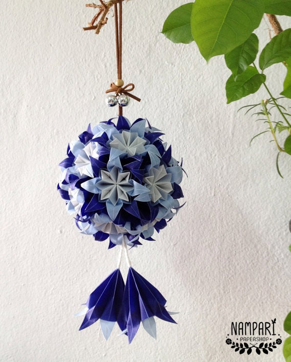 Blue Origami Flower Ball Translucent Origami Flower Origami Etsy