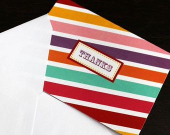 Thank You Card - Multi colored   Striped Thank You Card   Candyland Thank You CArd