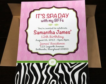 Spa Birthday Invitation 10/pk   Bridal Shower Invite   Sweet 16 Birthday Invitation   Zebra Print Invitation   Animal Print Invitation