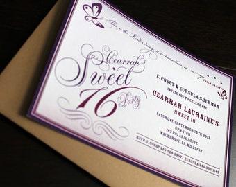 Butterfly Invitation 10/pk   Sweet 16 Invitation   Butterfly Party Invitation   Purple Invitation   Baby Girl Invitation