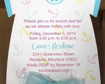 Beach Invitation 10/set    Baby Invite   Baby Nautical Invite   Baby Shower Invite   Beach Invitation   Diecut Onesie   Pool Party Invite