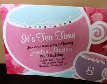 Tea Party Invitation - 10/pk   Baby Shower Invitation   Pink Invitation   Teacup Invitation   Invitation with Tea Cup