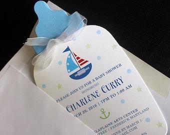Baby Bottle Invitation    Diecut Bottle Invitation   Baby Invitation   Baby Nautical Invite    Baby Shower Invitation   Beach Invitation