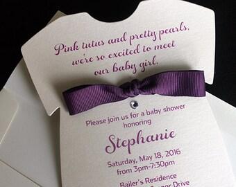 Baby Clothing Invitation    Baby Invitation   Girl Birthday Invite   Baby Shower Invitation   Purple Invitation