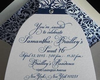 Sweet 16 Invitation   Quinceanera Invitation   Blue Invitation   Clothing Invitation   Party Invitation   Diecut Dress