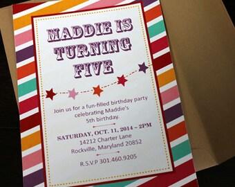 Striped Invitation 10/pk   Candy Colored Invitation   Multi Color Invitation   Invitation with Stripes   Carnival Invitation