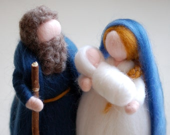 Nativity, Waldorf-inspired fairytale wool nativity scene, Christmas décor, soft sculpture, collectible doll