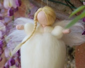 Soft Ivory angel, fairy tale wool, Waldorf inspiration, home decor, collectible doll, soft sculpture