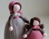 Shepherdess and Bimba, fairy tale wool crib, Waldorf inspiration, Christmas decoration, soft sculpture, collectible doll