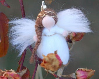 Angel necklace, in fairytale wool, Waldorf inspiration