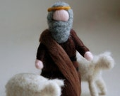 Shepherd, Waldorf-inspired fairytale wool crib, Christmas décor, soft sculpture, collectible doll