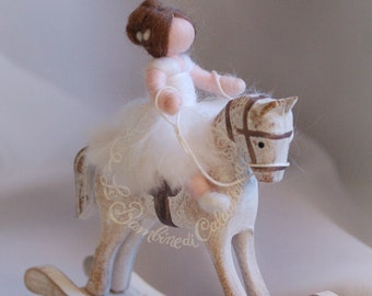 Little girl on rocking pony, Wool fairy tale, Waldorf inspiration, house decor, soft sculpture