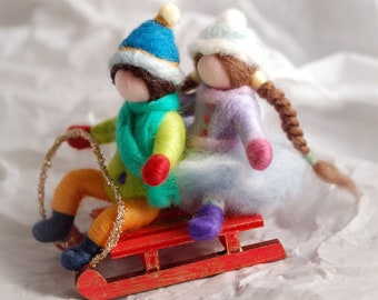 Sleigh with children, Music box, Waldorf-inspired fairy tale wool, home décor, collectible doll, soft sculpture