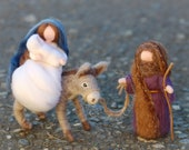 Escape to Egypt, Nativity with donkey, Waldorf-inspired fairytale wool nativity scene, Christmas décor, soft sculpture, collectible dolls