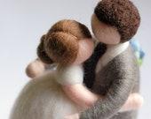 Newlyweds hugged, wool fa...