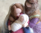 Kneeling Nativity, Waldorf-inspired wool crib, Christmas décor, soft sculpture, collectible doll
