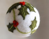 Holly, Christmas ball, Waldorf-inspired fairytale wool, Christmas décor, soft sculpture, collectible ball