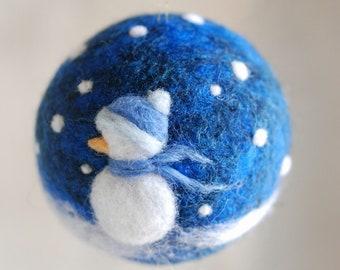 Snowman, Christmas ball, Waldorf-inspired fairytale wool, Christmas décor, soft sculpture, collectible ball