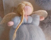 Angel Fluffy Baby blue, wool fairy tale, Waldorf inspiration,, home decor, collectible doll, soft sculpture
