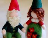 Couple Christmas gnomes, fairy tale wool, Waldorf inspiration