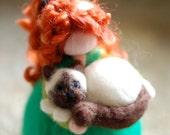 Girl & Cat, Wool fairy tale, Waldorf inspiration