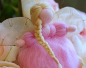 Soft Angel Pink, wool fairy tale, Waldorf inspiration, home decor, collectible doll, soft sculpture